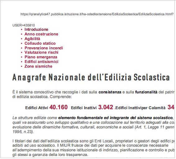Prima pagina del Portale dell'anagrafe dell'edilizia Scolastica